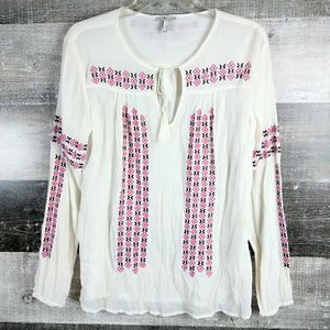 JOIE Embroidered Long Sleeve Tunic Top Blouse Sm